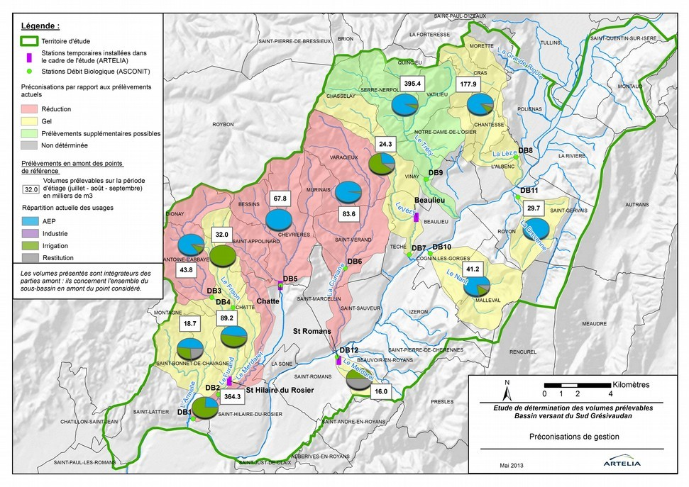 Préconisations de gestion par bassin versant – EVP Artelia 2011-2013