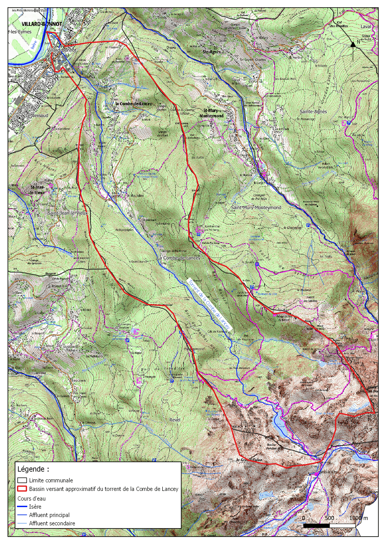 Carte du bassin versant du toorrent Combe de Lancey