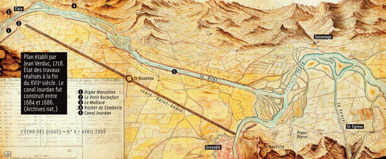 Plan établi en 1718 par Jean Verduc et conservé aux Archives Nationales. Etat des travaux réalisés le long du Drac à la fin du 17e siècle, notamment le Canal Jourdan construit entre 1684 et 1686.