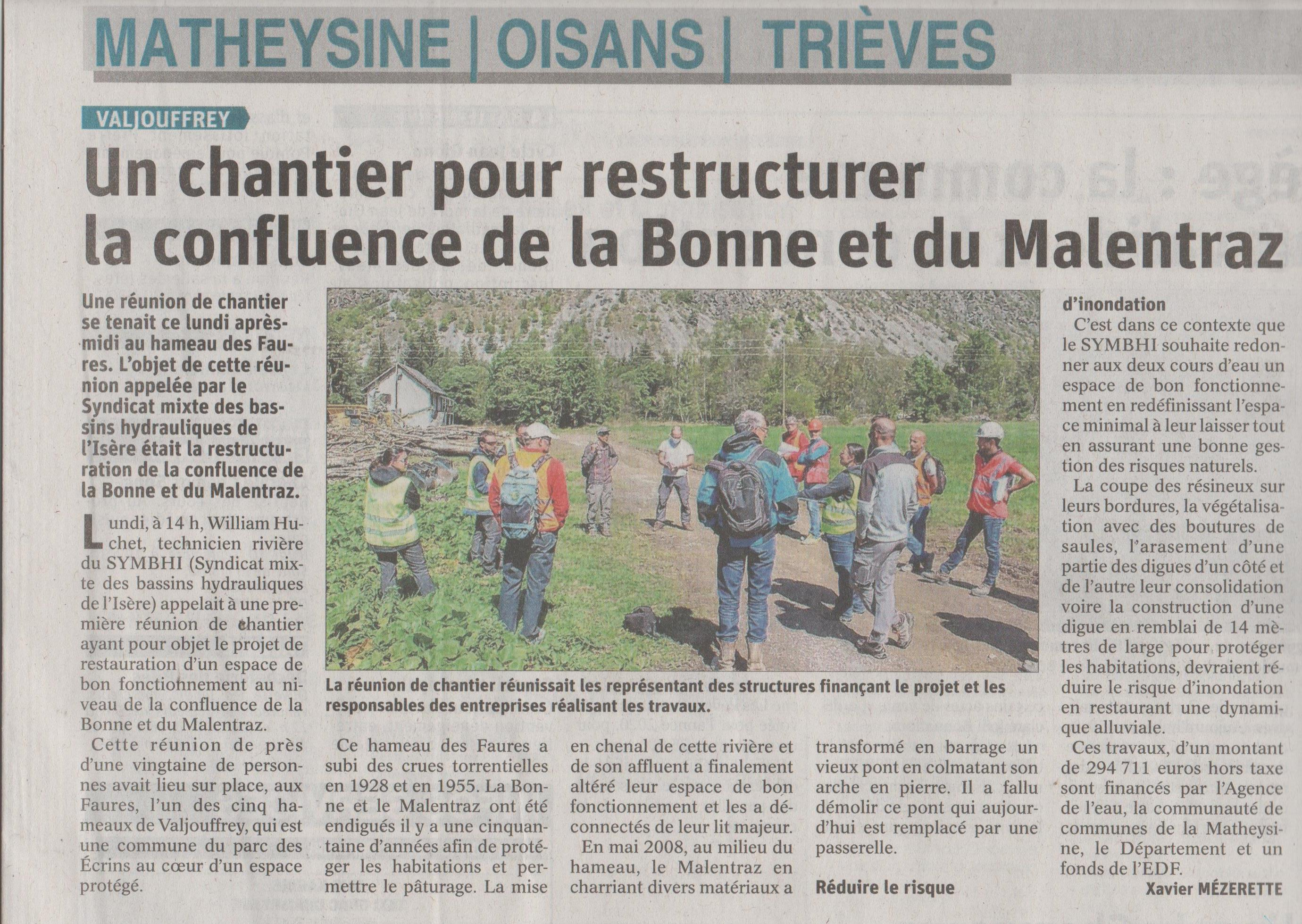 Restauration Bonne Malentraz -On en parle, article Dauphiné Libéré du 10 septembre 2020 UT Drac