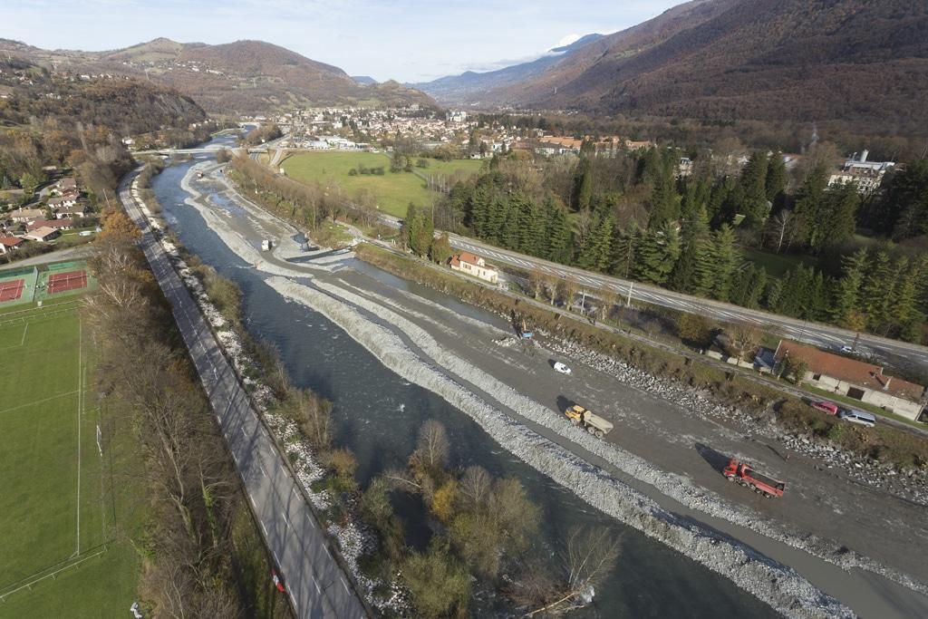 rivière en vue aérienne pendant travaux